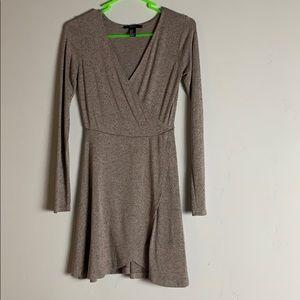 Taupe with black specks wrap dress